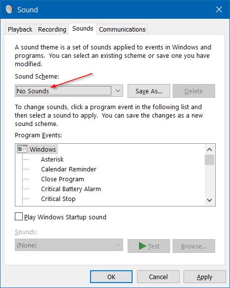 Windows 10'da Bildirim Sesini Devre Dışı Bırakma adım7