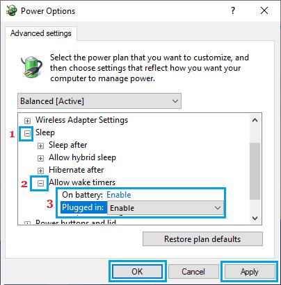 Windows PC'de Uyanma Zamanlayıcılarını Etkinleştirme