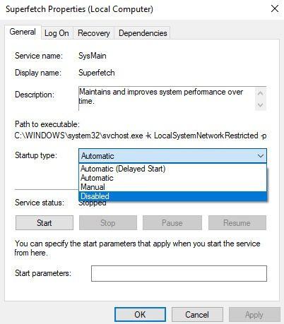 100 CPU Kullanımı Windows 10'u Süper Kaldırmayı Devre Dışı Bırak