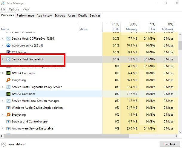 100 CPU Kullanımı Windows 10 Superfetch Fix