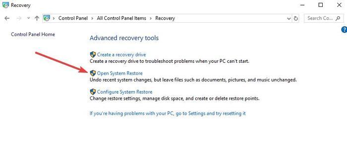 Fix Kopyala Yapıştır Çalışmıyor Windows Denetim Masası Kurtarma Sistem Geri Yüklemeyi Aç