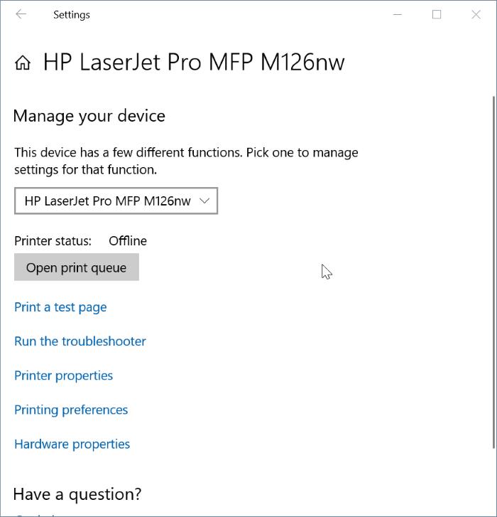 Yazıcı Windows 10 Pic6'da çevrimdışı