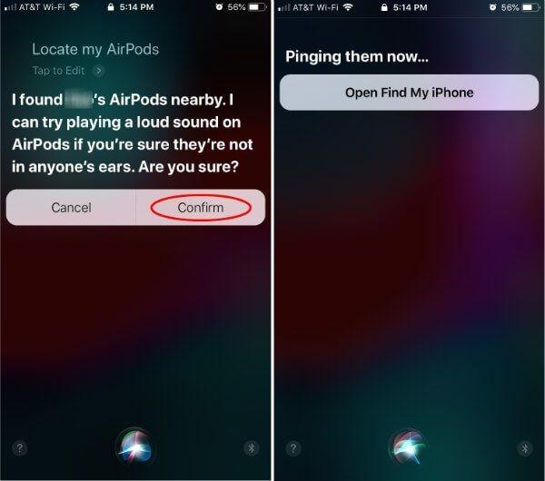 Siri kullanarak Kayıp AirPod'ları bulun