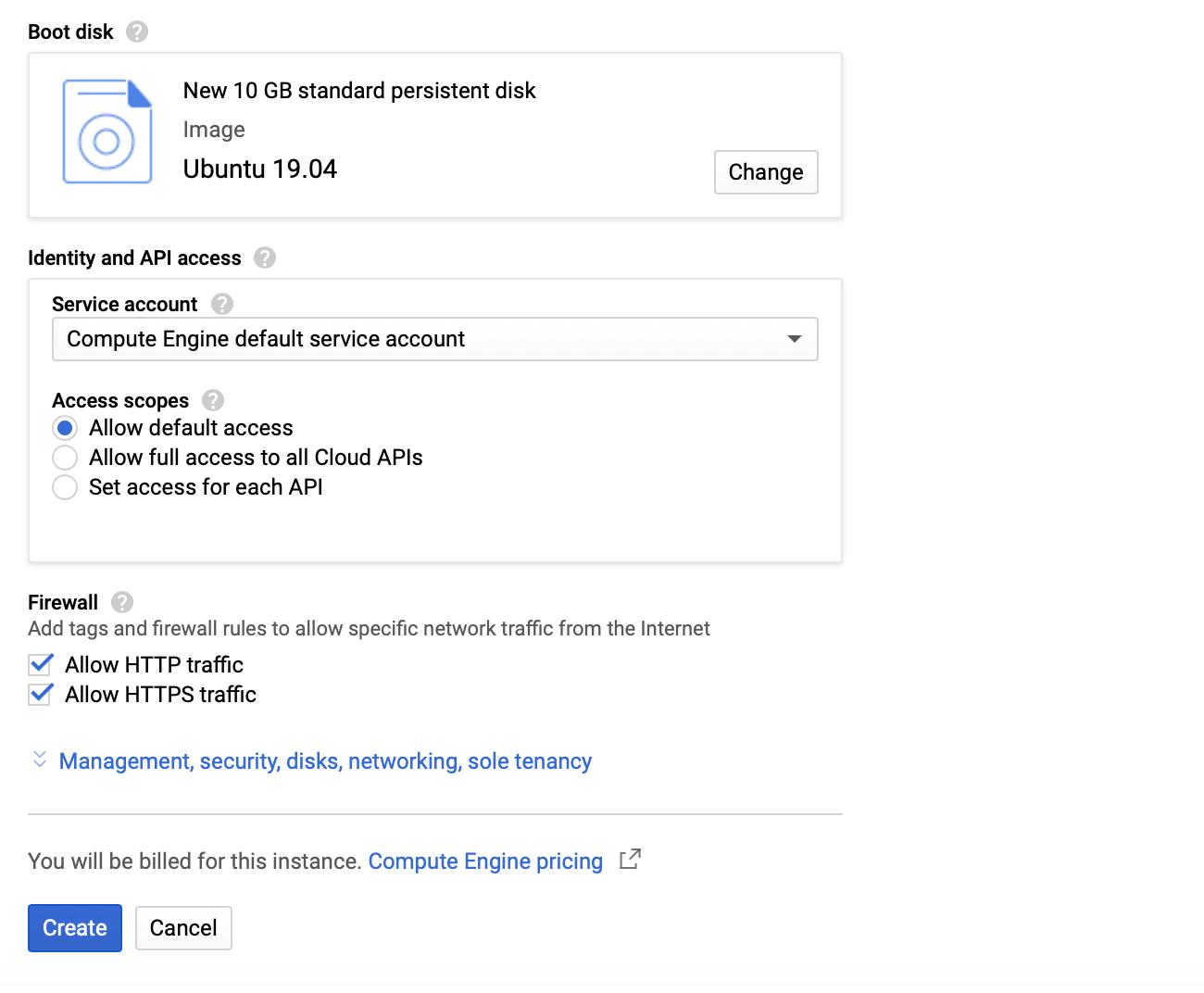 Google Cloud VM örneği İşletim sistemi