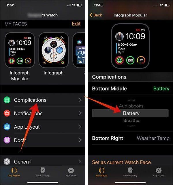 İPhone'tan Apple Watch Yüzündeki Pil Komplikasyonunu Ekleyin