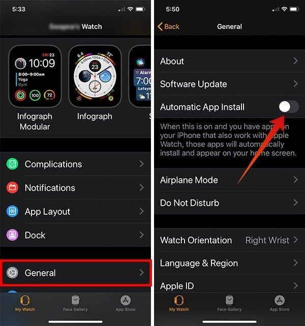 Apple Watch'ta Otomatik Uygulama Yüklemeyi Kapatmak için ekran görüntüleri