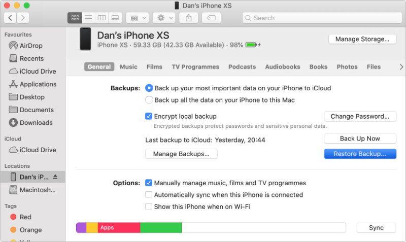 macOS Bulucu iPhone Restore Yedekleme seçenekleri