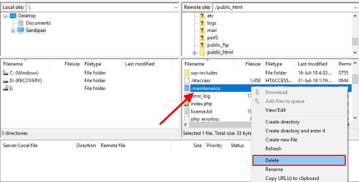 FTP silmek bakım dosyası wordpress