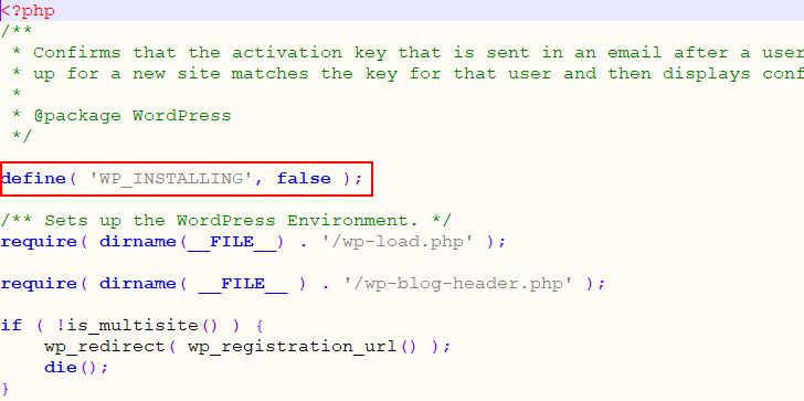 wp-etkinleştirme php dosyası