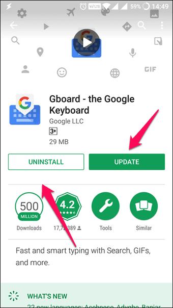 Gboard Uygulaması Kaldırma Seçeneği