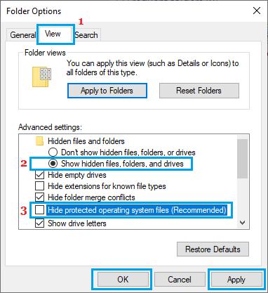 Korunmayan İşletim Sistemi Dosyalarını Göster