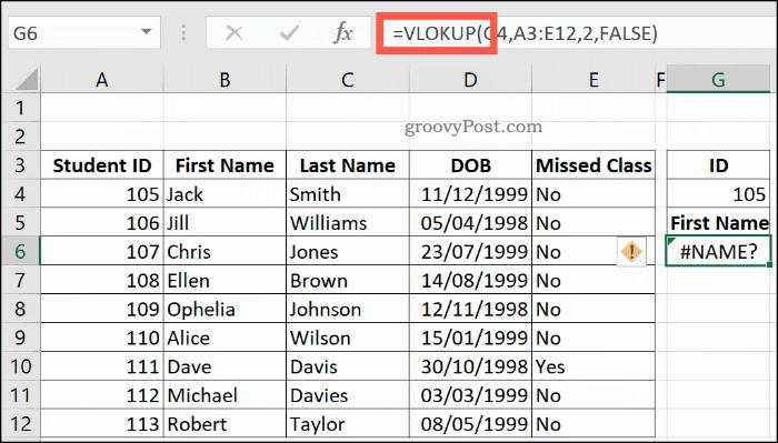 Excel'de bir NAME hatası döndüren yanlış yazılmış bir DÜŞEYARA formülü