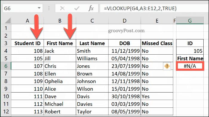 Veri aralığının düzgün sıralanmaması nedeniyle Excel'de DÜŞEYARA ile ilgili bir NA Hatası örneği