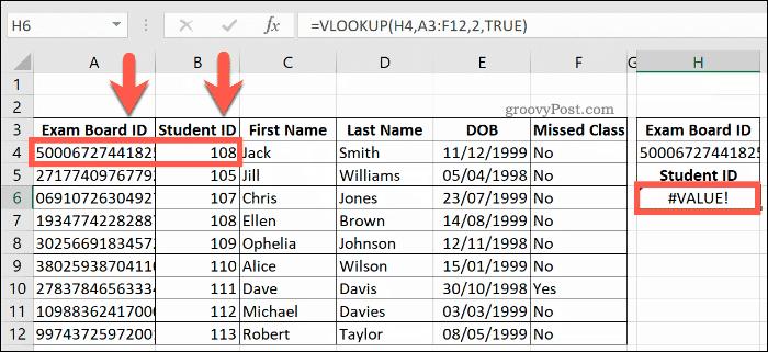 Excel'de VALUE hatası döndüren DÜŞEYARA Formülü