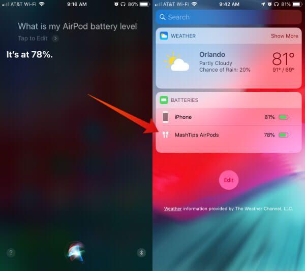 Siri AirPods Pil Seviyesi