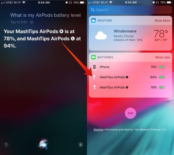Siri Airpods Sol Sağ Batarya