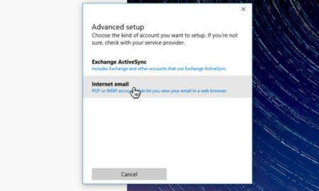 'İnternet e-postası'nı seçin