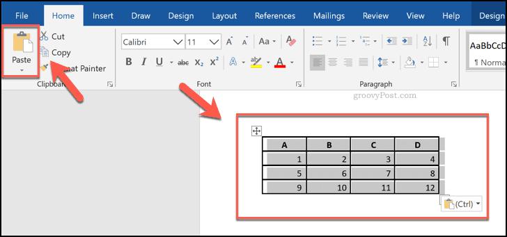 Word'de tablo olarak gösterilen bir Excel elektronik tablosundan yapıştırılan hücreler