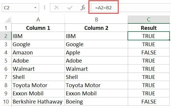 Excel'deki Listeleri Karşılaştır - eşleşmeler DOĞRU olarak gösterilir