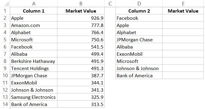 Excel'deki iki listeyi karşılaştırın ve eşleşen verileri getirin