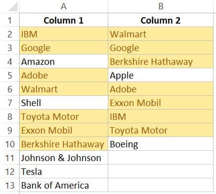 Excel'deki listeleri karşılaştırırken vurgulanan eşleşen veriler