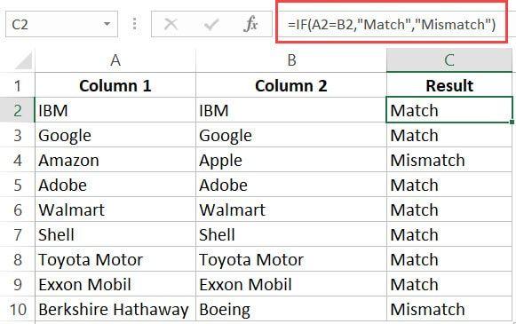 Excel'deki sütunları karşılaştırma formülü