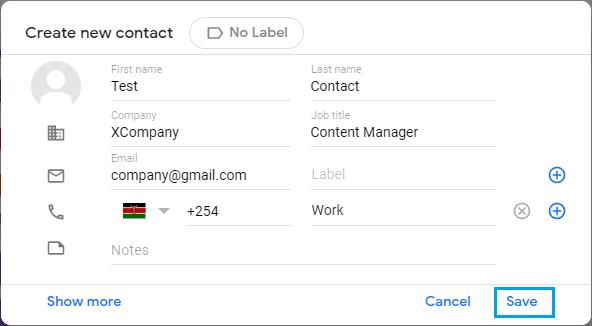 Yeni Gmail İletişim Bilgilerini Girin
