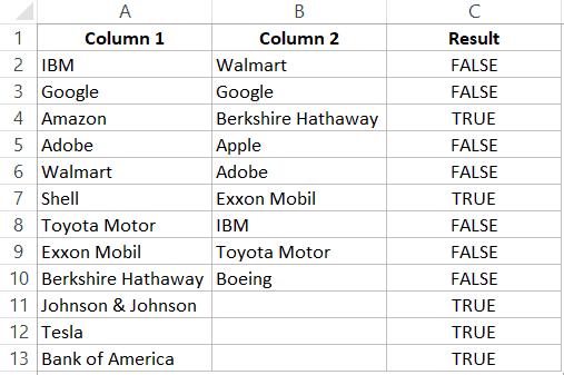 listeleri karşılaştırın ve eksik verileri bulun