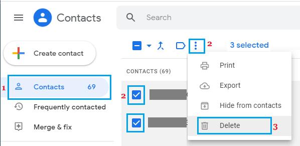 Gmail Kişilerini Sil