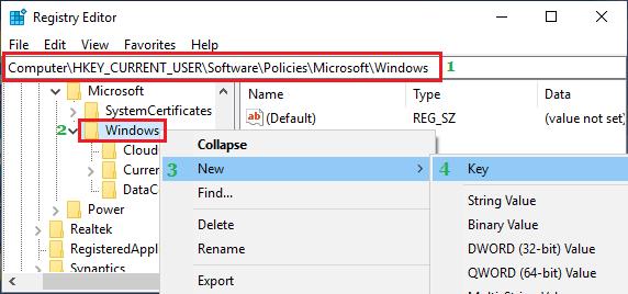 Windows Klasöründe Yeni Kayıt Defteri Anahtarı Oluşturma