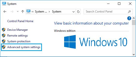 Windows 10'da Gelişmiş Sistem Ayarları Seçeneği