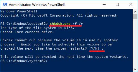 Windows PowerShell'de chkdsk komutunu çalıştırma