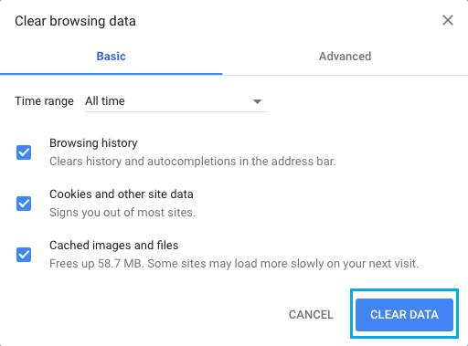Chrome'da Çerezleri, Tarama Geçmişini ve Önbelleğe Alınmış Resimleri Temizle