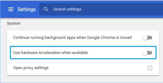 Chrome Tarayıcıda Donanım Hızlandırmayı Devre Dışı Bırakma