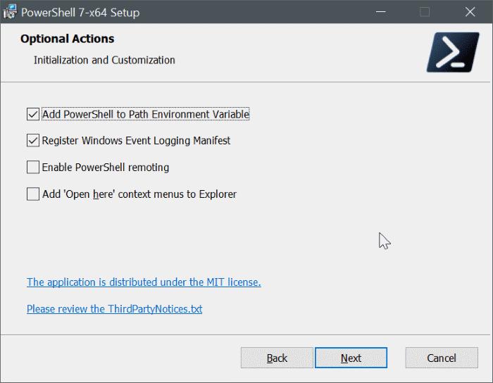 Windows 10 pic8 üzerine powershell 7'yi yükleyin