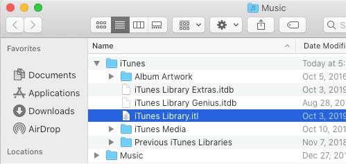 Mac'te iTunes Library Dosyası
