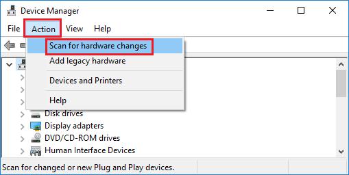 Windows 10 Aygıt Yöneticisi Ekranında Donanım Değişikliklerini Tara Seçeneği