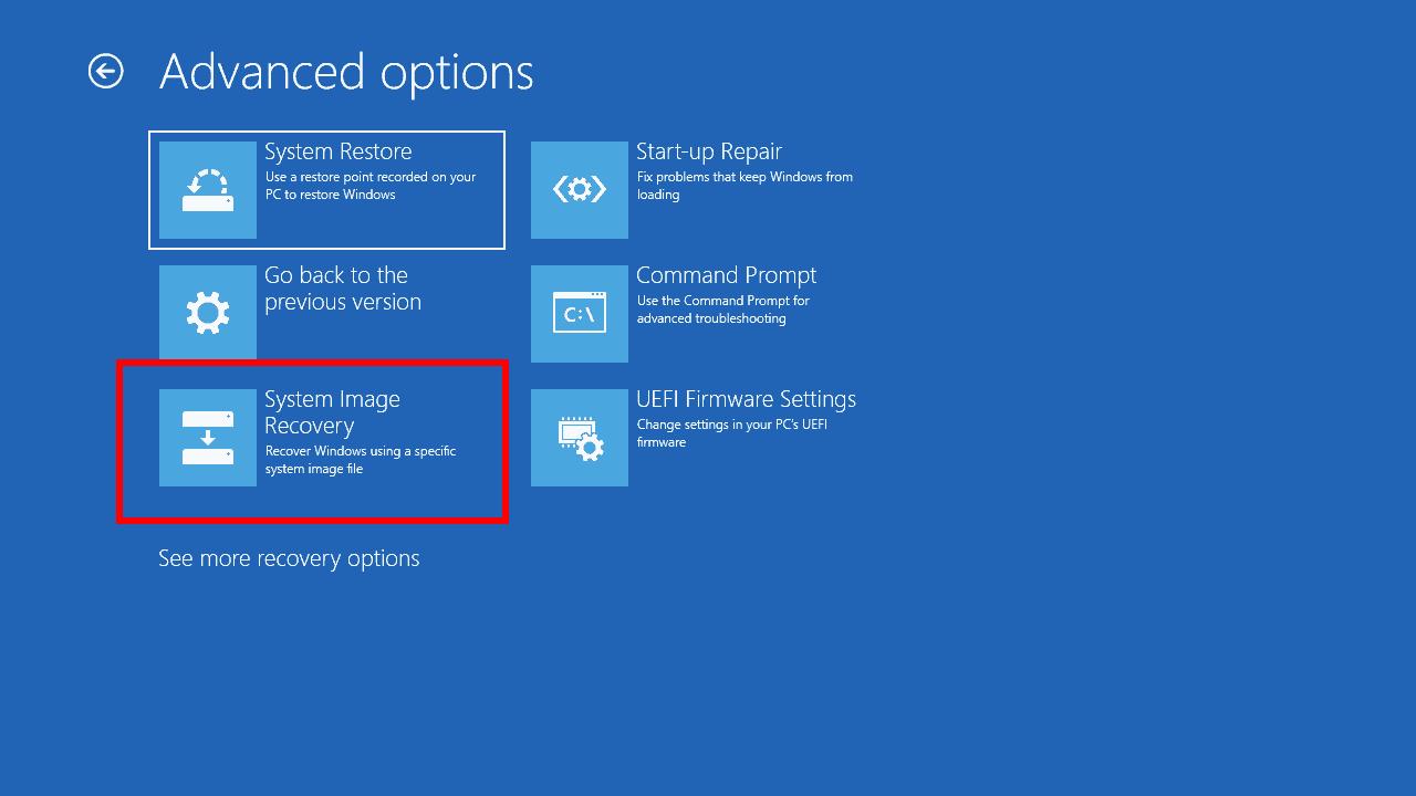 Windows 10 sistem görüntüsü kurtarma ekran görüntüsü