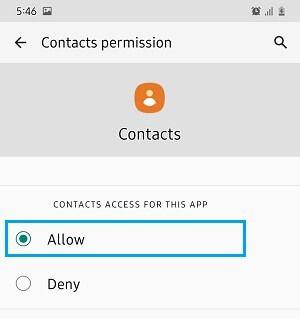 Kişiler Uygulamasının Android Telefondaki Kişilere Erişmesine İzin Verin
