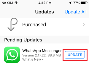 İPhone'da WhatsApp'ı güncelleyin