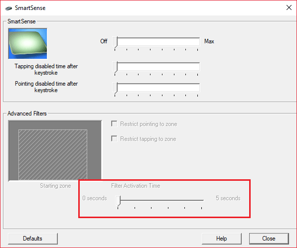 Gelişmiş'e tıklayın ve Filtre Etkinleştirme Süresi kaydırıcısını 0'a ayarlayın