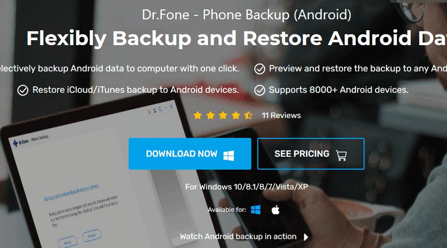 Dr.Fone - PC için Telefon Yedekleme android yedekleme yazılımı
