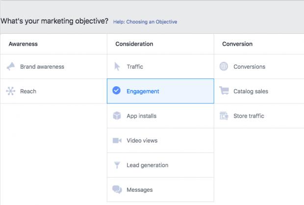 Facebook'ta reklam hedefinizi seçme seçeneği