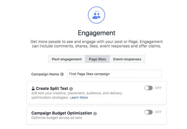 Bir Facebook reklamı oluştururken Etkileşim seçeneğini seçme