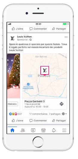 Louis Vuitton konum hedefli Facebook reklamı