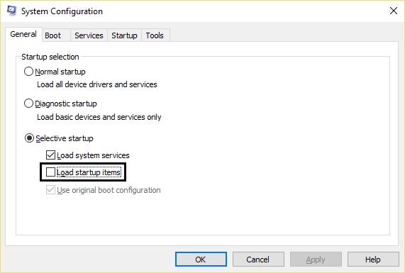 Windows'ta Temiz önyükleme gerçekleştirin.  Sistem yapılandırmasında seçmeli başlatma