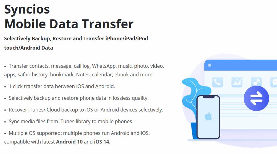 Syncios Mobile Data Transfer pc için android yedekleme yazılımı