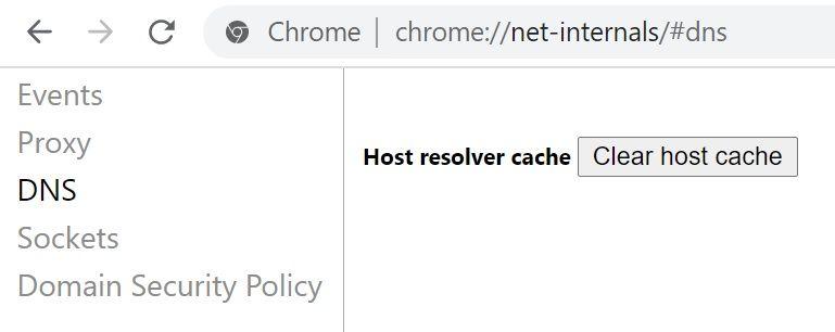 chrome clear DNS cache