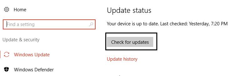 Windows Update altında güncellemeleri kontrol et'e tıklayın