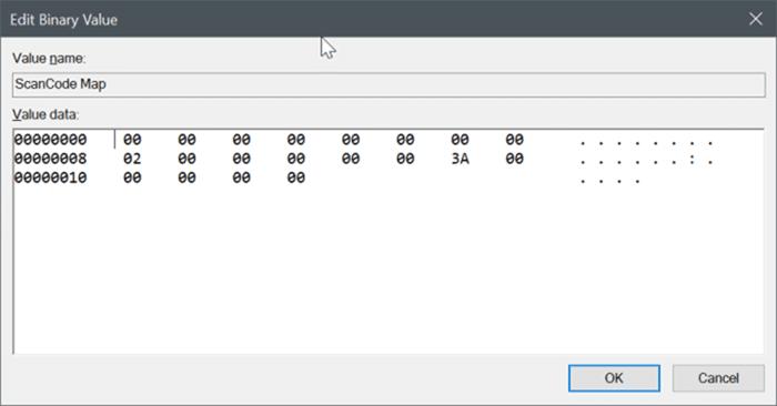 Windows 10 pic2'de capslock anahtarını devre dışı bırak